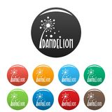 Vettore di colore fissato icone di logo del dente di leone della foresta Fotografie Stock