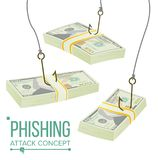 Vettore di concetto dei fondi Phishing Protezione di furto di frode Informazioni di perdita Crisi economica Illustrazione del fum illustrazione di stock