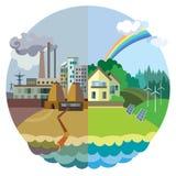 Vettore di concetto di ecologia: paesaggio del villaggio e di urbano fotografia stock libera da diritti