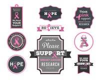 Vettore di consapevolezza del cancro al seno con testo Fotografie Stock Libere da Diritti