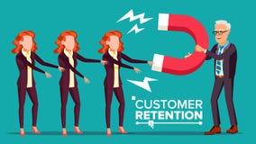 Vettore di conservazione del cliente L'uomo d'affari With Giant Magnet attira la donna del cliente Strategia di successo, attrazi Immagine Stock