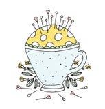 Vettore di cucito disegnato a mano Pin Cushion Tea Cup Fotografia Stock Libera da Diritti