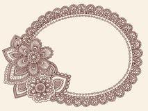 Vettore di Doodle di Paisley del Doily del merletto di Mehndi del hennè Fotografia Stock