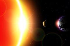 Vettore di eclissi solare Moon si muovono intorno al mondo e nascondono la luce solare Immagine Stock