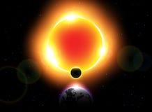 Vettore di eclissi solare Moon si muovono intorno al mondo e nascondono la luce solare Fotografia Stock Libera da Diritti