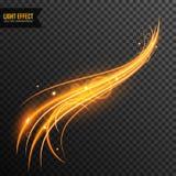 Vettore di effetto della luce trasparente con la linea turbinio e scintille dorate immagine stock