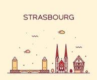 Vettore di Est Francia dell'orizzonte della città di Strasburgo grande fotografie stock