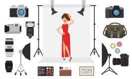 Vettore di fotografia che fotografa carattere di modello dalla macchina fotografica professionale della foto e che spara a donna  illustrazione di stock
