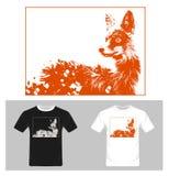 Vettore di Fox - progettazione grafica della maglietta con lo schizzo della volpe royalty illustrazione gratis