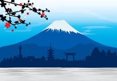 Vettore di Fuji Giappone Sakura View Landscape Travel Place della montagna illustrazione di stock
