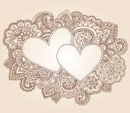 Vettore di giorno del biglietto di S. Valentino dei cuori del hennè Fotografia Stock Libera da Diritti