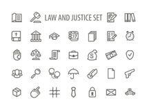 Vettore di Icons Set Line della giustizia e di legge Fotografia Stock Libera da Diritti