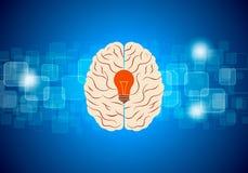 Vettore di idea del cervello con fondo blu Immagini Stock Libere da Diritti