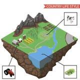 Vettore di infographics di vita rurale Fotografia Stock