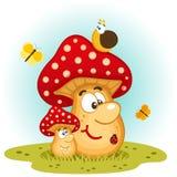 Vettore di insetti e dei funghi Fotografia Stock