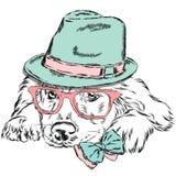 Vettore di Labrador Cane di razza Cucciolo sveglio Labrador che indossa un cappello, gli occhiali da sole e un legame Immagini Stock Libere da Diritti