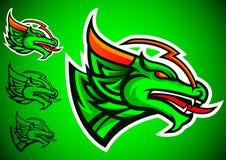 Vettore di logo dell'emblema del drago verde Fotografie Stock