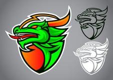 Vettore di logo dell'emblema del drago verde dello schermo Immagini Stock