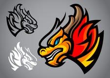 Vettore di logo dell'emblema della testa dell'oro del drago Fotografie Stock