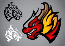 Vettore di logo dell'emblema della testa di rosso del drago Fotografia Stock Libera da Diritti