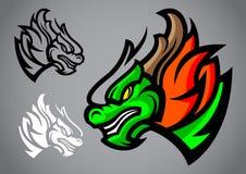 Vettore di logo dell'emblema della testa di verde del drago Fotografia Stock
