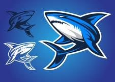 Vettore di logo dell'emblema dello squalo Fotografie Stock