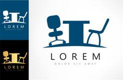 Vettore di logo delle sedie e della tavola dell'ufficio illustrazione di stock