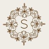 Vettore di logo di bage del monogramma Immagine Stock