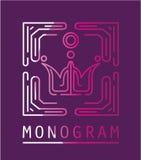 Vettore di Logo Modern Line Art del monogramma Immagine Stock
