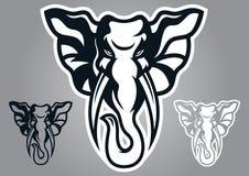Vettore di logo di progettazione della testa dell'elefante Immagine Stock Libera da Diritti