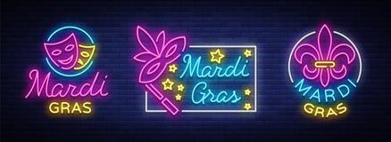 Vettore di Mardi Gras, insieme dei simboli, con i saluti di festa, carta festiva Martedì grasso, illustrazione festiva nello stil illustrazione di stock