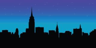 Vettore di New York dell'orizzonte di notte Fotografie Stock