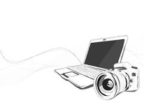 Vettore di Notebook&Camera Immagine Stock