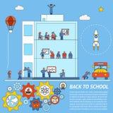 Vettore di nuovo al modello di Infographic della scuola Fotografie Stock