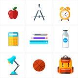 Vettore di nuovo alle icone della scuola messe Adatto ad insegne, a stampa ed a web design Immagini Stock Libere da Diritti