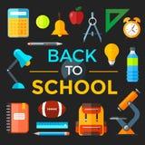 Vettore di nuovo alle icone della scuola messe Adatto ad insegne, a stampa ed a web design Fotografie Stock Libere da Diritti