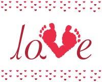 Vettore di orme del bambino di giorno di S. Valentino Fotografia Stock Libera da Diritti