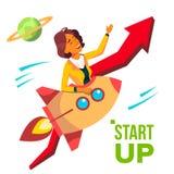 Vettore di partenza Rocket Soars Up On Background della freccia rossa Growthing su Donna di affari che gode di buon inizio illustrazione di stock