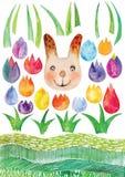 Vettore di Pasqua dell'acquerello, strutture di vettore dell'acquerello della primavera, insieme disegnato a mano di Pasqua Immagini Stock Libere da Diritti