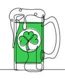 Vettore di Patrick Day Beer Continuous Line del san Fotografia Stock