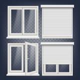 Vettore di plastica della finestra Otturatore metallico bianco del rullo PVC Windows Struttura della finestra bianca di plastica  illustrazione di stock