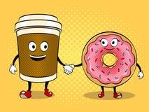Vettore di Pop art della tazza e della ciambella di caffè Fotografia Stock Libera da Diritti