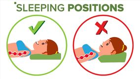 Vettore di posizione di sonno Posizione corretta di sonno della spina dorsale Posa del collo Corpo di salute ortopedico Piano iso royalty illustrazione gratis