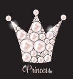 Vettore di principessa Crown Pearl Background Fotografie Stock Libere da Diritti