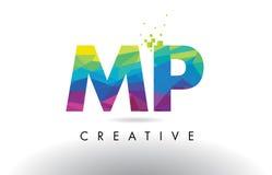 Vettore di progettazione dei triangoli del mp m. P Colorful Letter Origami illustrazione di stock