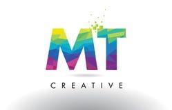 Vettore di progettazione dei triangoli della TA m. T Colorful Letter Origami illustrazione di stock