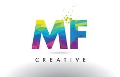 Vettore di progettazione dei triangoli di MF m. F Colorful Letter Origami illustrazione di stock