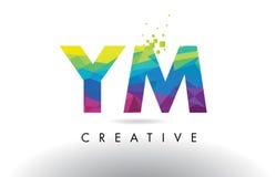 Vettore di progettazione dei triangoli di YM Y m. Colorful Letter Origami illustrazione di stock