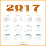 Vettore di progettazione 2017 del calendario e editabile da tavolino illustrazione vettoriale