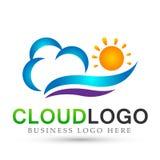 Vettore di progettazione dell'icona dell'elemento di vettore di logo dell'onda di acqua della nuvola del mare di Sun su fondo bia royalty illustrazione gratis